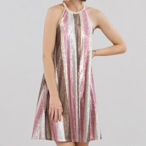 Rachel Roy Sequined Swing Dress. Size Large. Pink